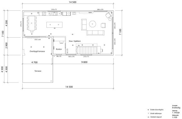 Etter noen runder kommer vi fram til at det kanskje er mer logisk å plassere kjøkkenet bak, med utgang til terrassen. Først tenker vi på denne løsningen med spisbordet lengst bort fra stuen og selve kjøkkenet i midten av rommet.
