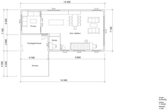 Andre planskisse, stue/kjøkken