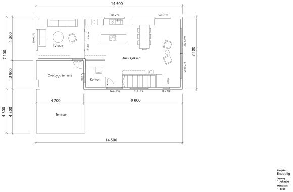Enda en versjon av stue/kjøkkenløsning. Her med spiseplassen foran og stuen bak.
