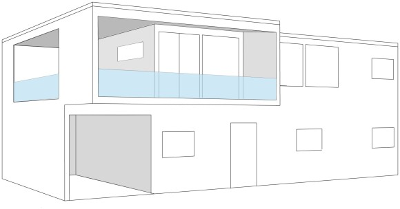 Vår første ide. Så for oss en balkong og garasje som lå integrert i huset.