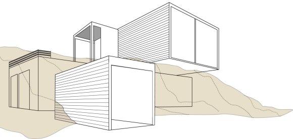 Forstod etter en ny runde at vi måtte vri på huset og begynte å tenke på kuber som selvstendige moduler. Hvordan kunne de plasseres oppå hverandre og fungere på tomten?