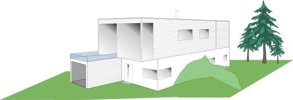 Garasje liggende foran huset med terrasse oppå.