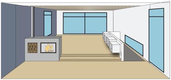 Ide på hvordan stuen kan være, med trinn opp fra kjøkkendelen og peis som deler rommet litt.