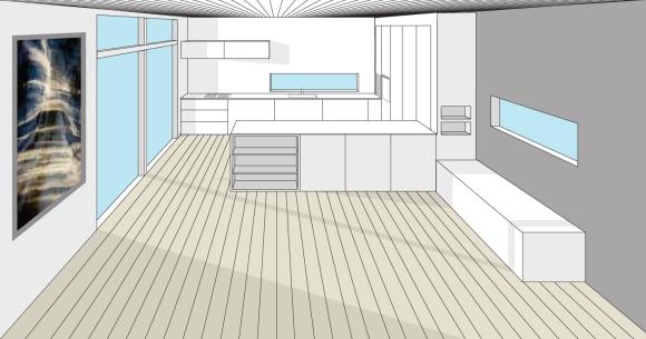 Ny tegning av kjøkkenet. Denne varianten med flere høyskap og kroker til å gjemme diverse maskiner og apparater som er nyttige men kanskje ikke så fine på enden av benken.