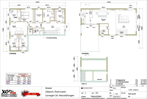 Endelig planløsning tegnet i samarbeid med utbygger.