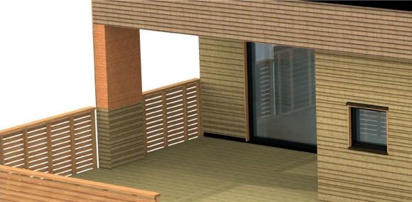 Detalj fra terrassen, delvis overbygget. Totalt er den på ca 30 m2.