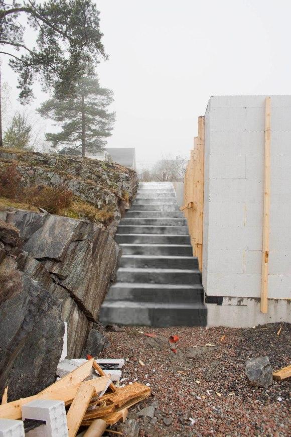 Her er en fotomontasje som viser hvordan vi ser for oss at trappen skal bli.