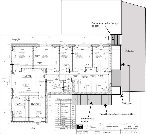 De grå partiene viser hvor vi planlegger å støpe trapper i betong.