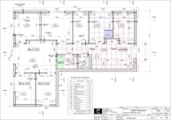 Planlegging og utregning av fliser. Her er kun gulvene, i tillegg kommer samme rutemønster for veggene...