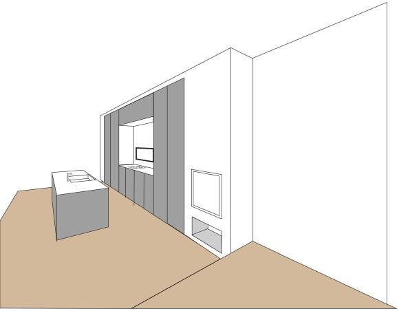 Vårt nye kjøkken som blir plassert i den mørkeste delen av rommet, midt mellom spisestue og stue. Får nå akkurat den utformingen jeg har ønsket meg med vasken på kjøkkenøyen og steketoppen plassert midt mellom to rader med høyskap.