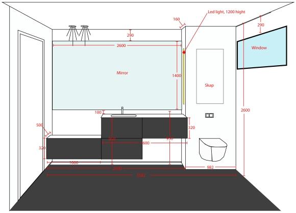 Plantegning av bad med mål på baderomsmøbler, lys og speil.