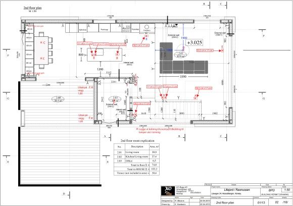 Lysplan 2. etg med nøye beskrivelser av hvor kassene for Flos-lampene skal plasseres.