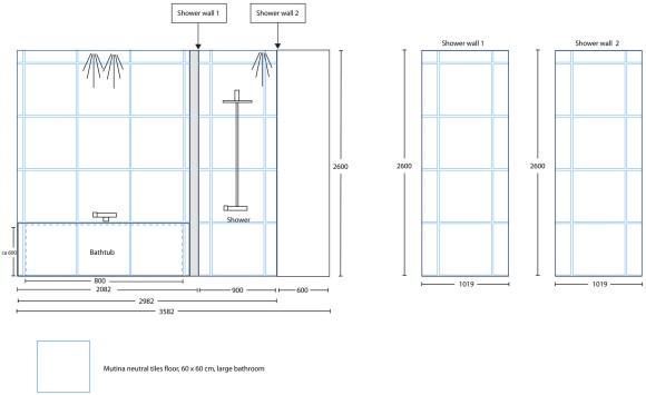 Tegningen vi laget for å vise hvordan vi ønsket flisene i dusjsonen og rundt badekaret på det store badet.
